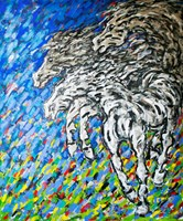 Living room painting by Adam Bojara titled K9 Horses