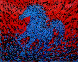 Living room painting by Adam Bojara titled K13 Horses