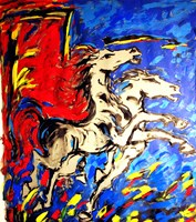 Living room painting by Adam Bojara titled K20 Horses