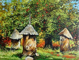 Living room painting by Adam Kubka titled Beehive