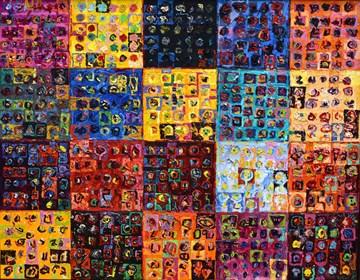 Obraz do salonu artysty Krzysztof Pająk pod tytułem Barwne podziały