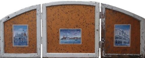 Obraz do salonu artysty Jan Bembenista pod tytułem Z cyklu Ikony odchodzącego świata (tryptyk) Pocztówka z Wenecji