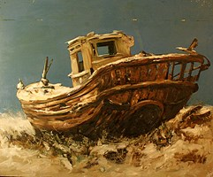 Living room painting by Adam Bojara titled O Boat