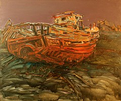 Living room painting by Adam Bojara titled O Boat 1