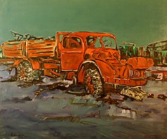 Living room painting by Adam Bojara titled O Truck