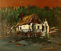 Living room painting by Adam Bojara titled O2 Huts