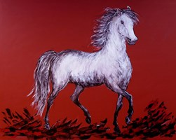 Living room painting by Adam Bojara titled K54 Horses