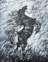 Living room painting by Adam Bojara titled K49 Horses