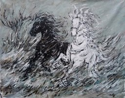 Living room painting by Adam Bojara titled K48 Horses