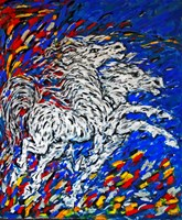 Living room painting by Adam Bojara titled K45 Horses