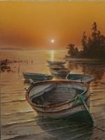 Obraz do salonu artysty Wiktor Juszkiewicz pod tytułem Łódka na brzegu