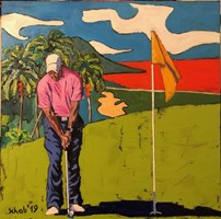 Living room painting by David Schab titled Golfer
