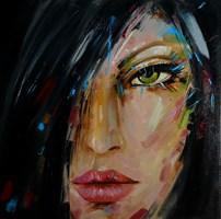 Living room painting by Iwona Wierkowska-Rogowska titled Green eye