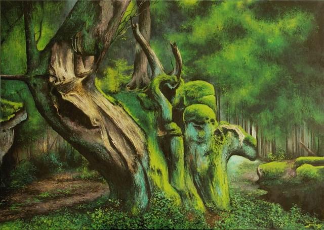 Living room painting by Konrad Hamada titled Backwoods