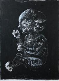 Living room painting by Piotr Kamieniarz titled Mask III