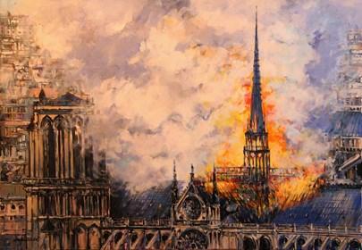 Obraz do salonu artysty Piotr Rembieliński pod tytułem Pożar katedry Notre Dame