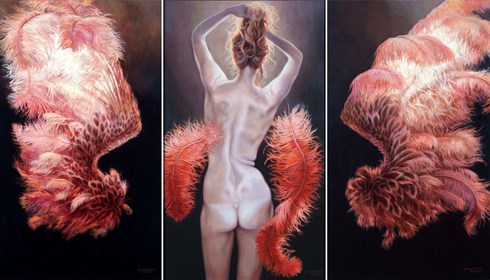 Living room painting by Joanna Sierko-Filipowska titled Angel