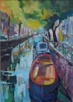 Obraz do salonu artysty Roman Gruszecki pod tytułem Kanał w Amsterdamie