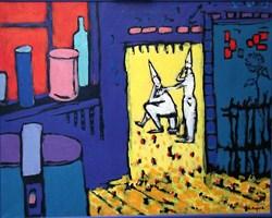 Obraz do salonu artysty Adam Bojara pod tytułem P38 OBRAZ Z PAJACEM W TLE