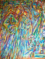 Living room painting by Adam Bojara titled P23 Angels