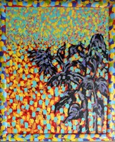 Living room painting by Adam Bojara titled 45 Sunflowers