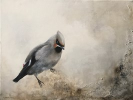 Living room painting by Klaudia Choma titled Waxwing