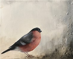 Living room painting by Klaudia Choma titled Finch