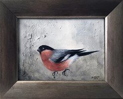 Living room painting by Klaudia Choma titled Finch I