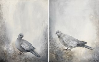 Living room painting by Klaudia Choma titled Doves