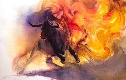 Obraz do salonu artysty Beata Musiał-Tomaszewska pod tytułem Fire bull