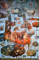 Obraz do salonu artysty Grzegorz Skrzypek pod tytułem Drzewo-parasole i mechaniczna pomarańcza