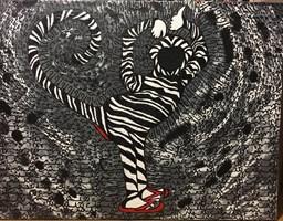 Obraz do salonu artysty Iwona Molecka pod tytułem I think  im a monkey in flip-flops