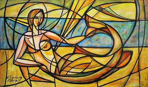 Obraz do salonu artysty Eugeniusz Gerlach pod tytułem Syrenka na plaży
