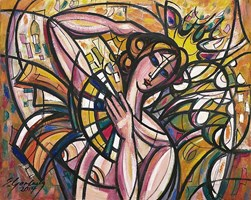 Living room painting by Eugeniusz Gerlach titled Dancer