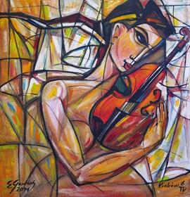 Obraz do salonu artysty Eugeniusz Gerlach pod tytułem Zakochana skrzypaczka