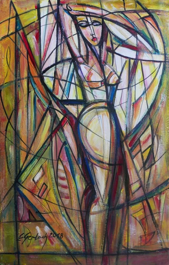 Obraz do salonu artysty Eugeniusz Gerlach pod tytułem Akt na tle białej draperii