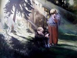 Obraz do salonu artysty Jan Dubrowin pod tytułem Jaś i Małgosia