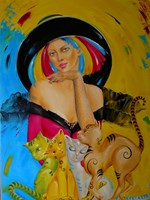 Living room painting by Iwona Wierkowska-Rogowska titled Cats