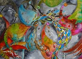 Living room painting by Iwona Wierkowska-Rogowska titled Birds