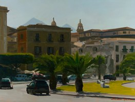 Living room painting by Michał Janicki titled Via Cala, Palermo