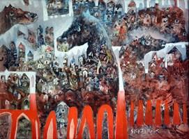 Obraz do salonu artysty Grzegorz Skrzypek pod tytułem Letnie popołudnie w karmelowym miasteczku