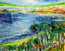 Obraz do salonu artysty Dariusz Grajek pod tytułem Zatoka w Cannes....