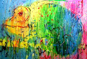 Obraz do salonu artysty Dariusz  Grajek pod tytułem Kameleonik.....