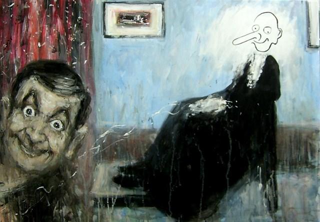 Living room painting by Dariusz Grajek titled Mr. Bean & Whistlers mom