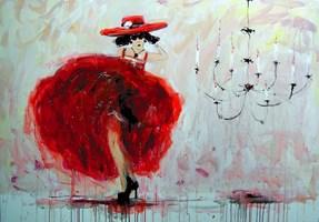 Obraz do salonu artysty Dariusz Grajek pod tytułem Dziewczyna i żyrandol....
