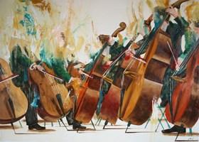 Obraz do salonu artysty Cyprian Nocoń pod tytułem Oktet sonorystyczny