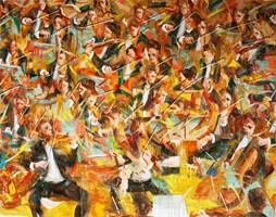 Living room painting by Cyprian Nocoń titled Orchestra