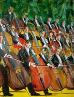 Obraz do salonu artysty Cyprian Nocoń pod tytułem 19 kontrabasistów