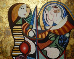 Living room painting by Barbara Sikorski titled You and me