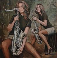 Obraz do salonu artysty Adam Kubka pod tytułem Przed koncertem